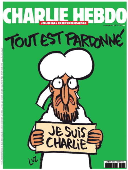 "Yes, that is Muhammad holding a ""Je suis Charlie"" sign."